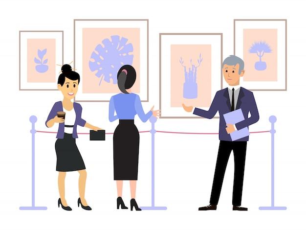 Persone nella galleria d'arte contemporanea. esposizione museo guida. le donne guardano opere d'arte, dipinti e ascoltano la guida