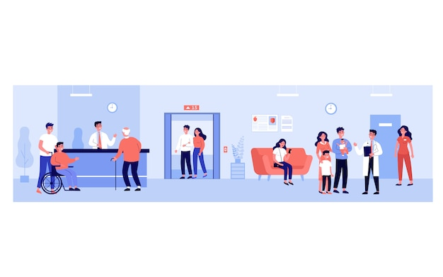 Persone nella hall dell'ospedale