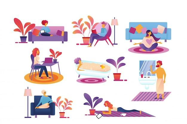 Persone ogni giorno: routine di vita, passa il tempo a casa.