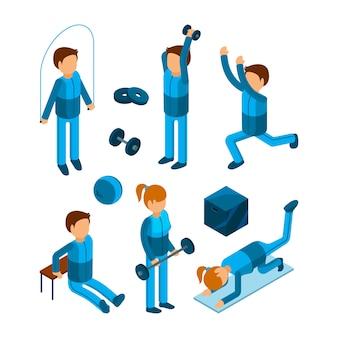 Persone palestra isometrica. l'allenamento di personaggi di fitness sport esercita la pompa del corpo e la forza di modelli 3d low poly
