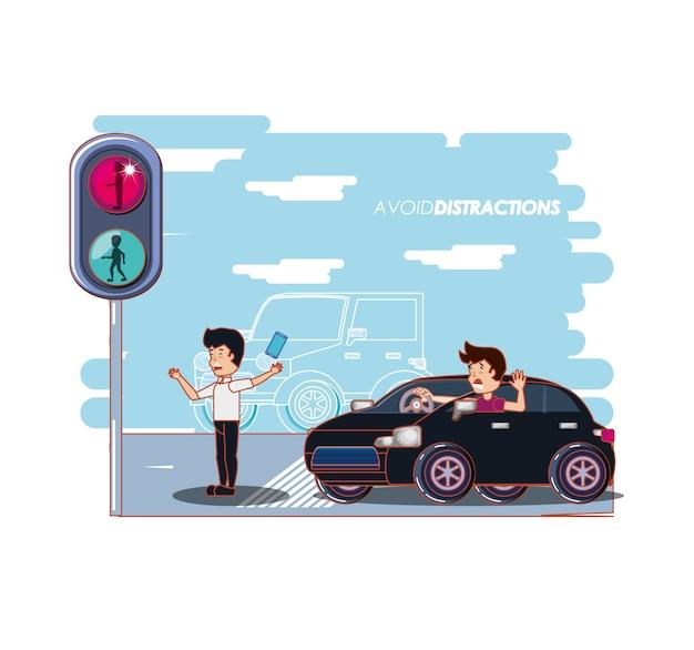 Persone per la strada con una campagna di distrazioni del vuoto