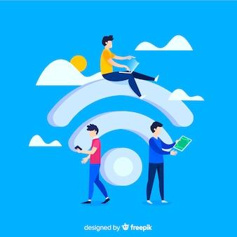 Persone piatte che utilizzano la rete wireless