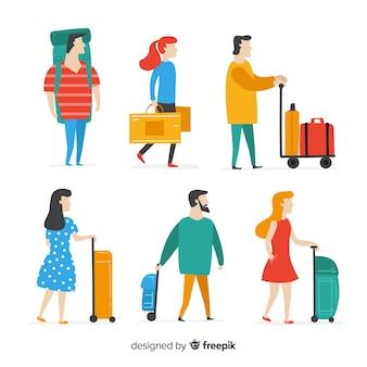 Persone piatte che viaggiano in diverse situazioni