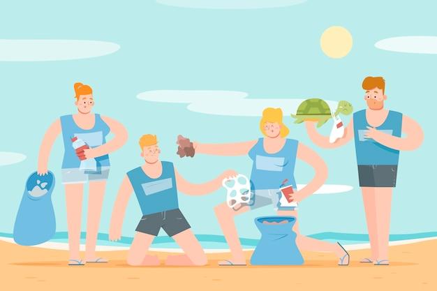 Persone pulizia spiaggia di detriti