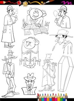 Persone retrò impostare la pagina da colorare dei cartoni animati