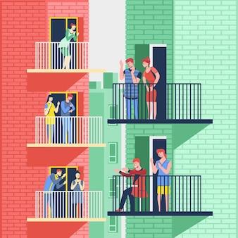 Persone riconoscenti che applaudono insieme sui loro balconi