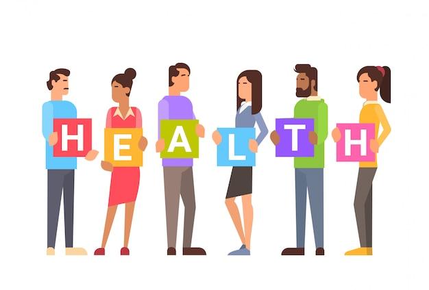 Persone salute in gruppo giornata mondiale salute vitamine sport