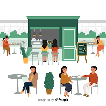 Persone sedute al design piatto del caffè