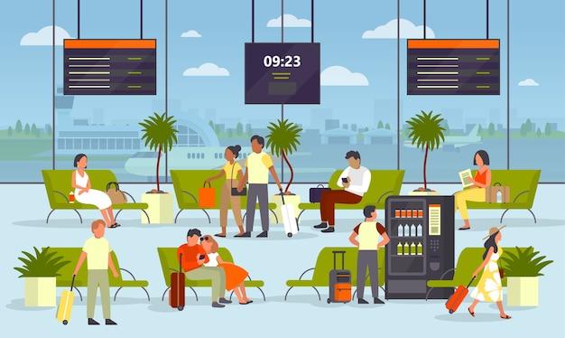 Persone sedute con il bagaglio nella sala d'attesa dell'aeroporto. idea di viaggio e viaggio. interno dell'edificio. il passeggero attende la partenza.