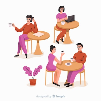 Persone sedute in un bar