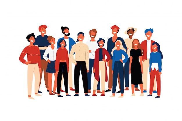Persone sicure, membri della società studentesca, allegri volontari in piedi insieme, giovani sorridenti. attivisti felici, fumetto multietnico concetto di gruppo