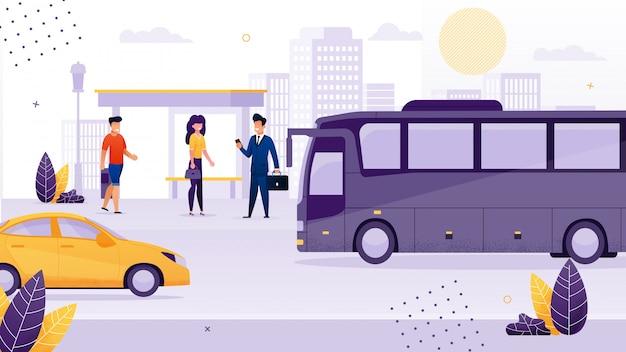 Persone st anding alla fermata dell'autobus cartone animato
