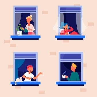 Persone su balconi concetto di quarantena