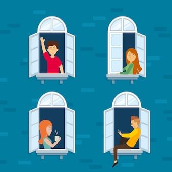 Persone su balconi in quarantena
