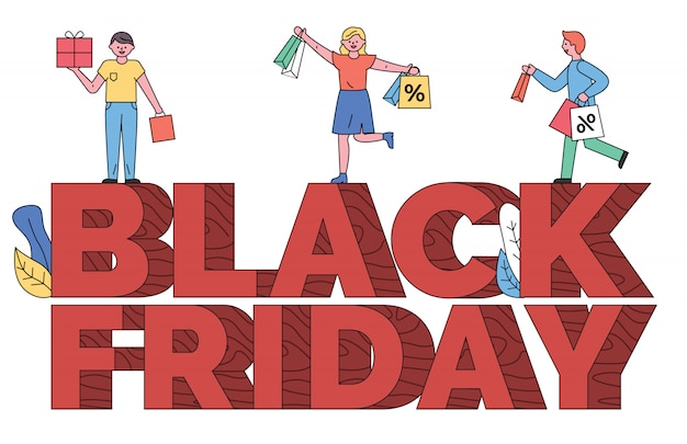 Persone su didascalia, banner di vendita del black friday shopping