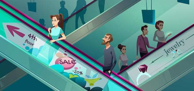 Persone su scale mobili nel centro commerciale