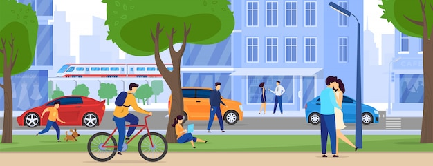 Persone su strade della città, grattacieli e traffico, illustrazione di stile di vita urbano