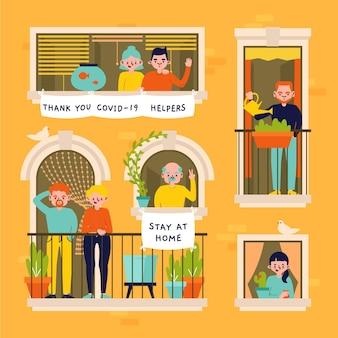 Persone su windows in quarantena
