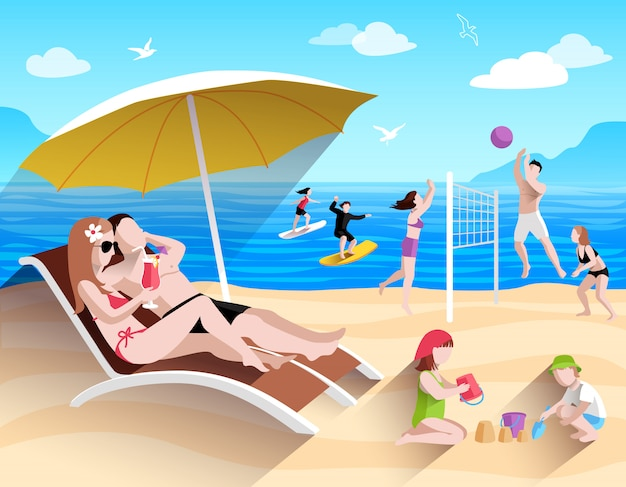 Persone sulla spiaggia