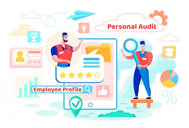 Personeel audit, employee profile cartoon flat.