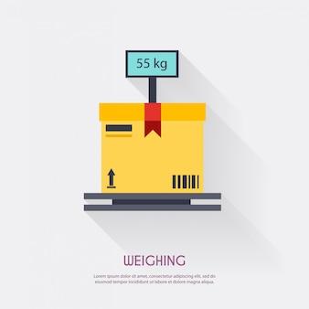 Pesatura. spazio in bianco logistico delle icone del magazzino e trasporto, illustrazione di stoccaggio.