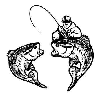 Pesca dell'illustrazione di vettore di tema di logo della spigola grande isolata