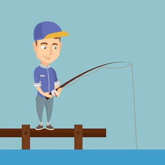 Pesca dell'uomo sull'illustrazione di vettore del molo.