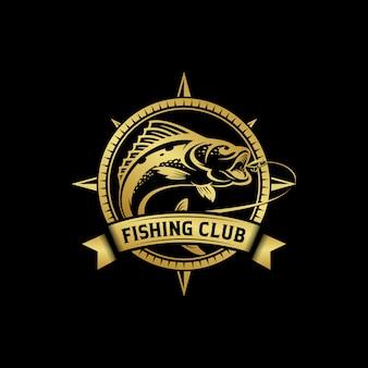 Pesca vintage logo design illustrazione