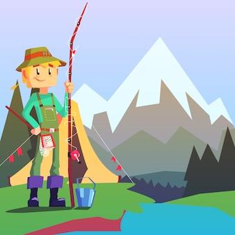 Pescatore campeggio con il paesaggio di montagna sullo sfondo