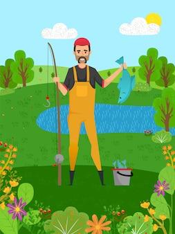 Pescatore che tiene luccio, pesce e canna, hobby