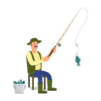 Pescatore con canna da pesca su bianco