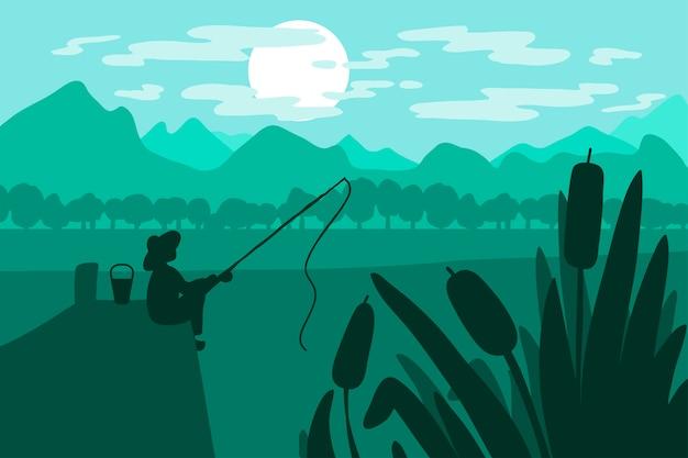 Pescatore con canna da pesca