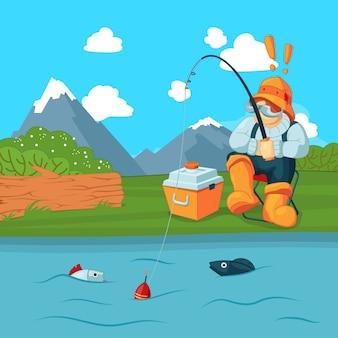 Pescatore con la strada di pesca che pesca un pesce sul paesaggio di montagna