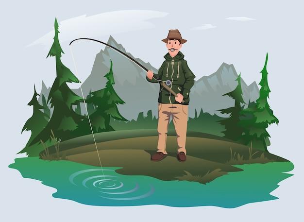Pescatore con una canna da pesca sulla riva di un lago nella foresta
