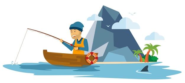 Pescatore del maschio adulto che pesca su una barca