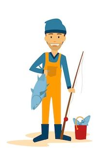 Pescatore in piedi con il suo pesce