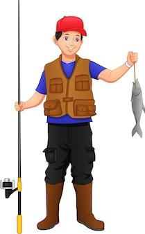 , pescatore pescando con set canna da pesca