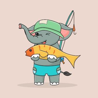Pescatore sveglio dell'elefante che abbraccia pesce