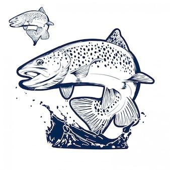 Pesce che salta sopra l'illustrazione dell'acqua