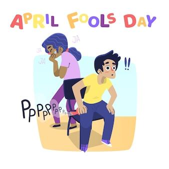 Pesce d'aprile con scherzi di persone
