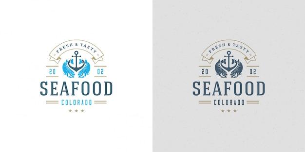 Pesce di color salmone di progettazione del modello di emblema del mercato ittico dell'illustrazione di vettore del segno o di logo dei frutti di mare di pesce