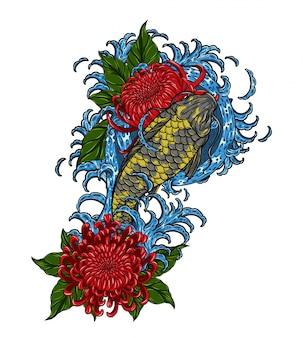 Pesce di koi con il tatuaggio di vettore del crisantemo che disegna a mano