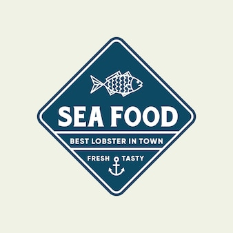 Pesce di pesce per la progettazione del logo di linea ristorante