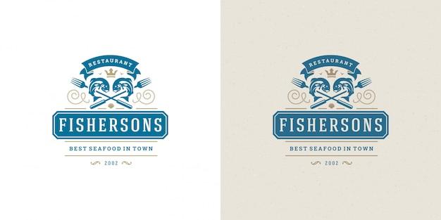 Pesce di progettazione del modello dell'emblema del mercato ittico e del ristorante dell'illustrazione di vettore del logo o del segno dei frutti di mare