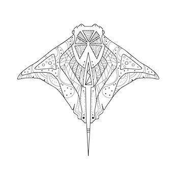 Pesce di zentangle del disegno della mano del pattino isolato