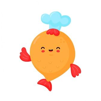 Pesce divertente felice sveglio in cappello del cuoco. progettazione dell'illustrazione del personaggio dei cartoni animati di vettore. isolato