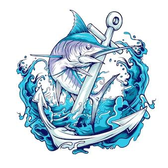 Pesce marlin con illustrazione di ancoraggio