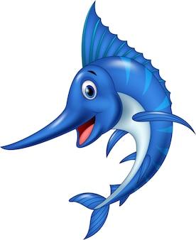 Pesce spada del fumetto isolato su fondo bianco