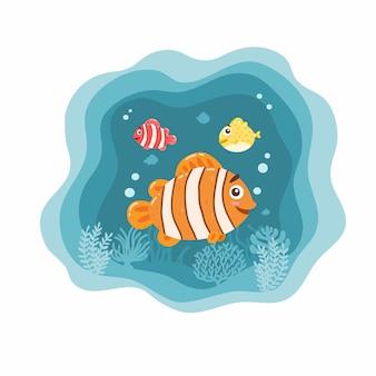 Pesci dell'oceano su bianco