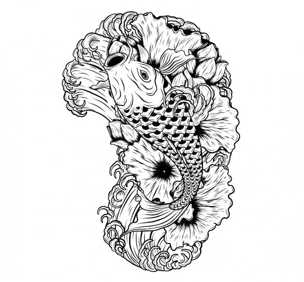 Pesci della carpa con il tatuaggio di vettore del loto a mano che disegna